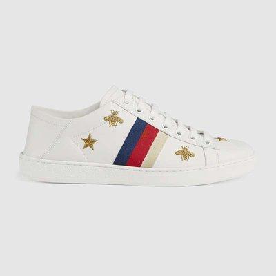 【代購】Gucci New Ace Bee Star 刺繡 蜜蜂  星星 可踩後跟 皮革 休閒鞋
