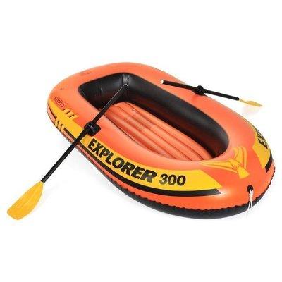 300型 美國INTEX探險者 橡皮艇 3人加厚 衝鋒舟 漂流船 氣墊船 充氣船 親子 探險 漂漂船 沙灘 划水 送船槳