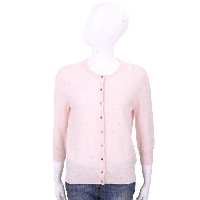 米蘭廣場 ALLUDE 喀什米爾淺粉色星空鑽飾V領羊毛針織小外套 1740245-05