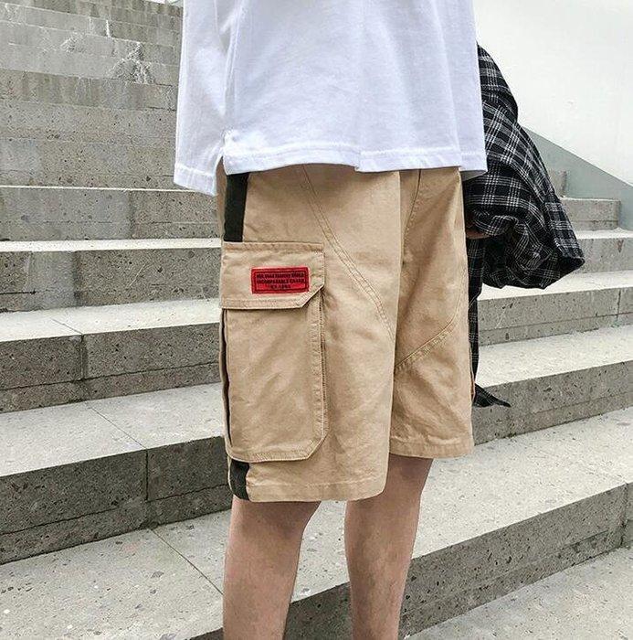 韓系港風直筒褲子寬松休閑褲夏季潮牌五分褲子男生短褲潮  C230