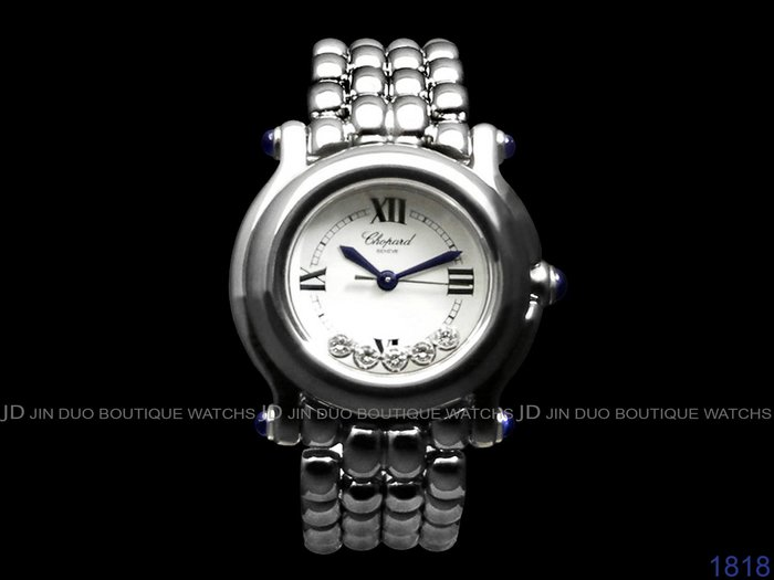 金鐸精品~1818 CHOPARD 蕭邦 HAPPY SPORT 5顆快樂鑽 石英鍊帶女用鑽錶