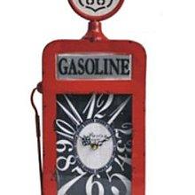 美式複古做舊鐵質66公路加油站造型鐘擺件居家商業通用創意桌面鐘表台鐘