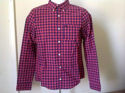 【天普小棧】A&F abercrombie checked pocket shirt長袖格紋襯衫KIDS XL號現貨抵台
