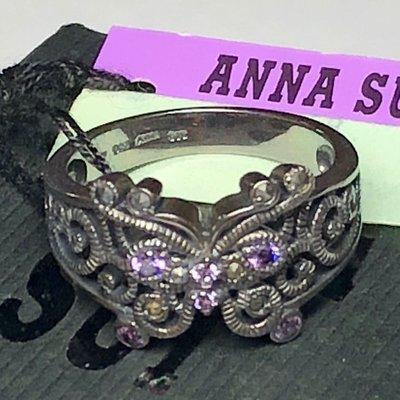 Anna Sui全新限量正品紫色水鑽蝴蝶925純銀寛版戒指安娜蘇