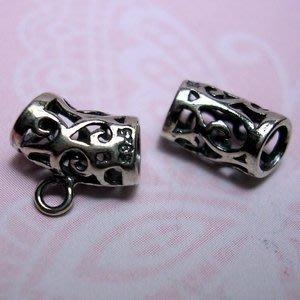 琥珀貓~【925純銀材料配件】彎管帶圈~A0166~長命卷草~一個