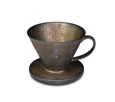 免運費送薇薇特咖啡豆半磅. 河野流 文京手作濾杯 半肋結構.鐵釉紋理都是獨一無二.手作生命力值得收藏與傳遞.
