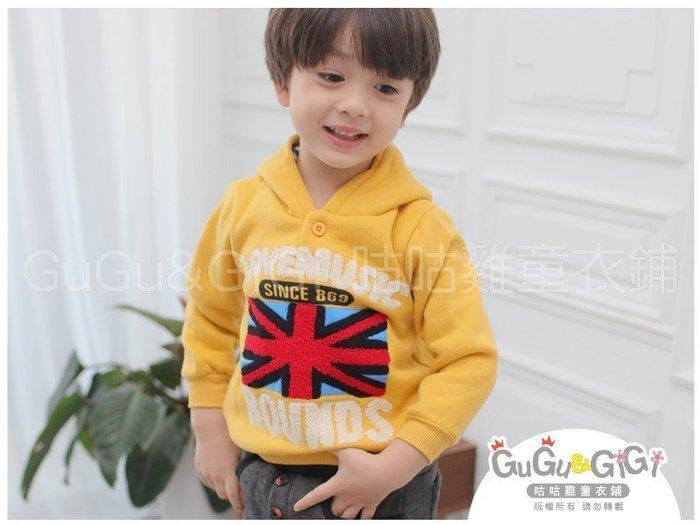 【RB2120909】秋冬款~紅色米字國旗貼布連帽黃色上衣$99
