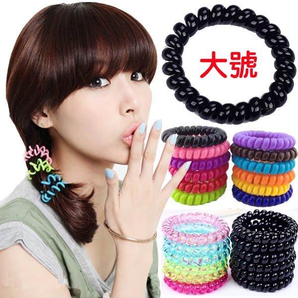 人魚朵朵 大號電話圈髮束  黑色髮圈 糖果色電話線髮束  彩虹韓國甜美可愛髮飾 綁頭髮 橡皮筋 造型品飾品 不咬頭髮