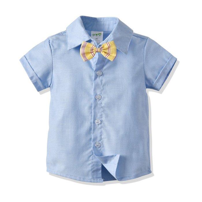 男童 短袖襯衣   兒童 寶寶純棉襯衣領節