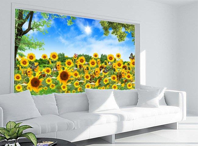 客製化壁貼 店面保障 編號F-269 向日葵蝴蝶 壁紙 牆貼 牆紙 壁畫 星瑞 shing ruei