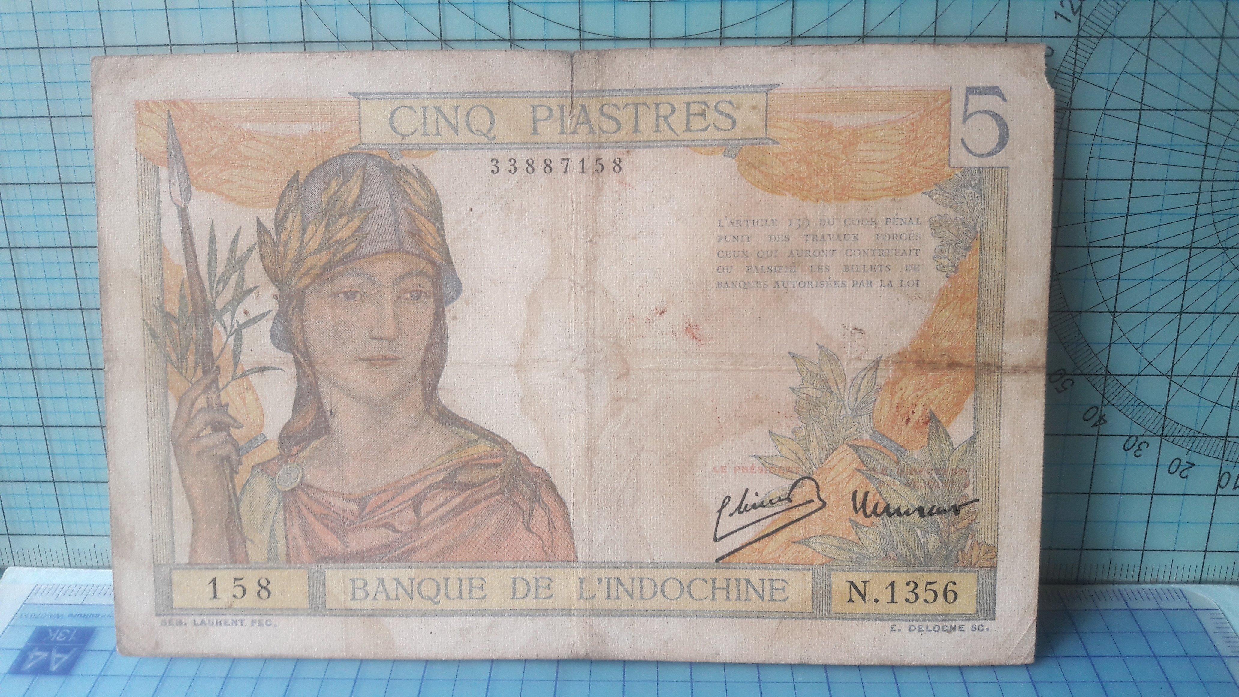 6540法屬印度支那·東方匯理銀行伍元(8位號)