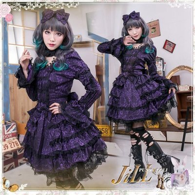 Oo吉兒oO【JGHA143PU】蘿莉塔哥德夢幻小公主 茶花蕾絲蛋糕裙接袖洋裝 付頭箍 月讀 吉賽爾Lolita 紫
