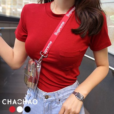 超哥小舖【T20002】韓國春夏百搭單品性感顯胸圓領小口袋短袖T恤上衣T-shirt曲線基本款