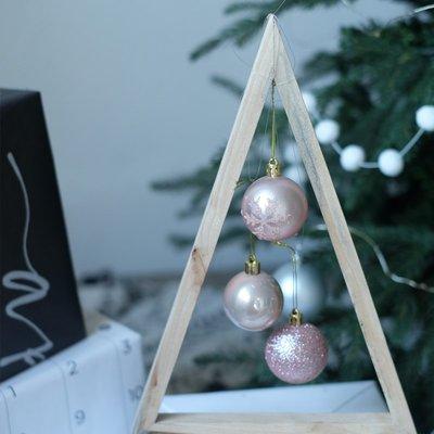 北歐INS風玫瑰淺粉色手繪球亮光粉紅聖誕球套裝聖誕樹掛飾裝飾品
