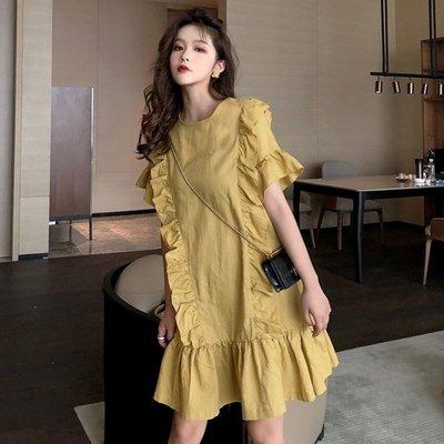 時尚女裙  寬松顯瘦圓領裙子ins荷葉邊裙夏季新款復古純色短袖連衣裙女