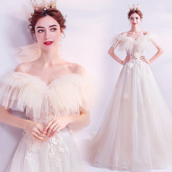 妞妞 婚紗禮服~法式浪漫 公主新娘一字肩生日派對宴會婚纱長禮服~3件免郵