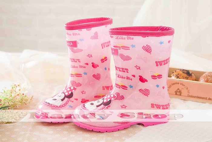 mandyshop【M2850】㊣ Disney迪士尼米妮兒童雨鞋-出清價$399