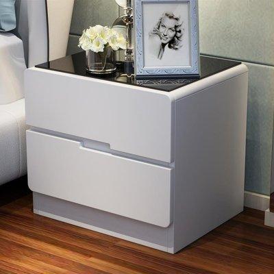 玻璃面烤漆床頭櫃簡約現代儲物櫃臥室床邊...