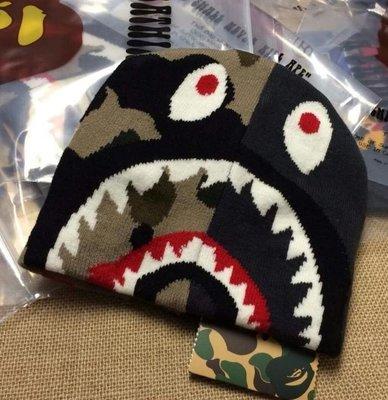 全新正品 2015 BAPE APE CAMO SHARK KNIT CAP 鯊魚 毛線針織帽