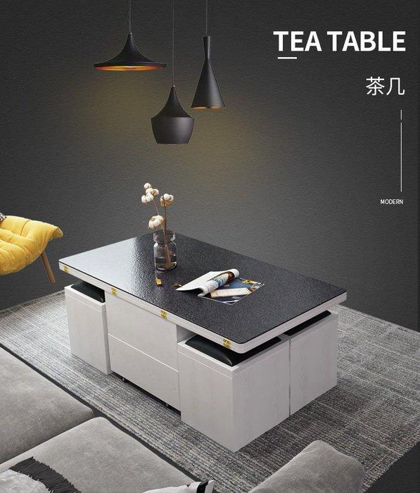 【森林原木手工家具】升級版多功能變形茶几餐桌組(火燒石紋玻璃及大理石紋玻璃桌面)