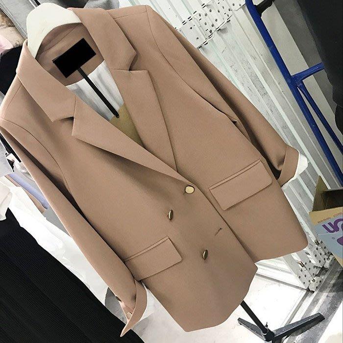春裝新款 韓國訂單 OL俐落感 金屬雙排扣休閒時尚西裝外套 西外[Classique*真經典]  041504
