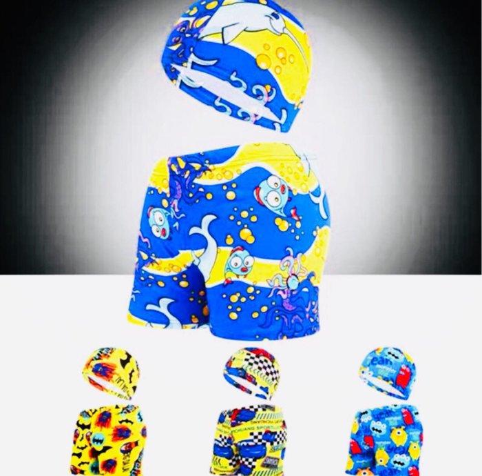 QQ羊*S328 泳帽+褲套組 男童卡通泳褲 寶寶戲水褲 四季溫泉泳褲,建議20-35公斤