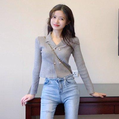 春季小性感V領短款針織開衫女復古百搭顯瘦修身長袖上衣小外套