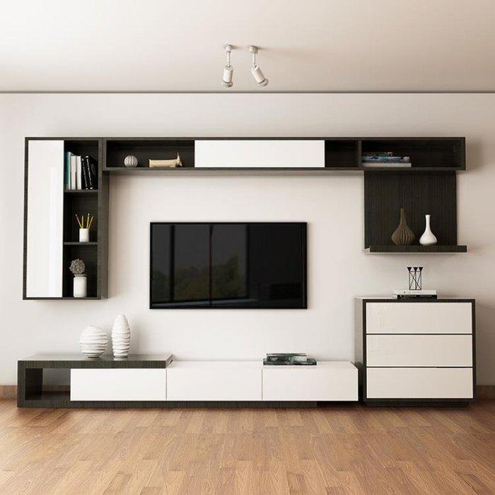 電視櫃電視櫃茶几現代簡約客廳背景墻家具烤漆北歐電視機櫃套wy