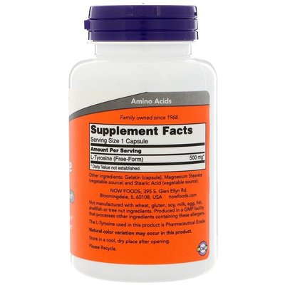 【Puritans美代購】美國髪貨Now Foods L-Tyrosine L型酪氨酸 維護腺功能500mg120粒