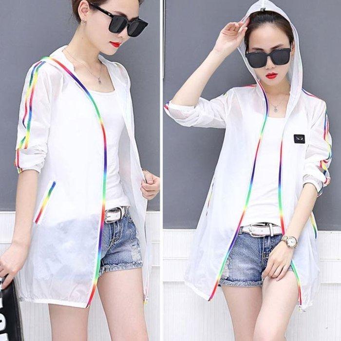 防曬衣女 中長款夏季新款韓版寬鬆大碼透氣薄款開衫長袖防曬服