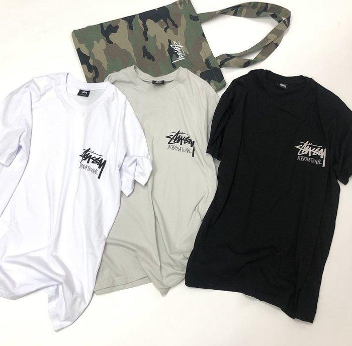 正品STUSSY潮牌international澳洲版logo男白色短袖T恤 百搭款tee