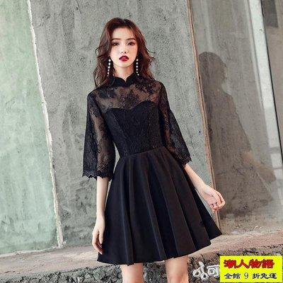 禮服 宴會晚禮服女新款高貴優雅黑色洋裝聚會派對年會小禮服裙短款【潮人物語】