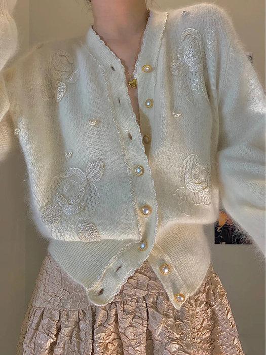 PapaDarling 20SS 精緻氣質名媛風 白色刺繡花朵 針織外套