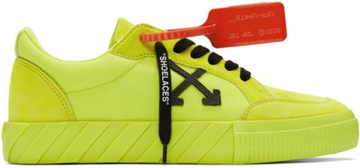 ~The Black Dan Moccani~ [新款] OFF-WHITE Vulcanized 螢光色 皮質低筒球鞋