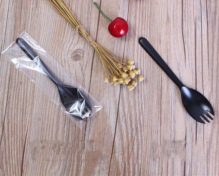 Amy烘焙網:加厚黑色兩用一體叉勺/叉子湯匙/夜市可麗餅/水果盒/冰淇淋蛋捲用/單支獨立包裝100入