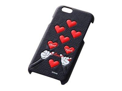 尼德斯Nydus~* 日本正版 Disney 迪士尼 米奇 米妮 愛心打勾勾 背蓋式 手機殼 iphone6 4.7吋