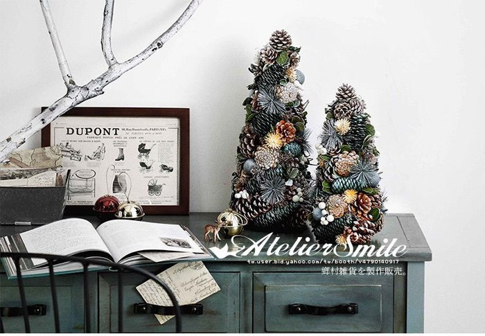 [ Atelier Smile ] 鄉村雜貨 北歐 森林系 松果 松樹裝飾 擺設 高42公分 # 大 #聖誕裝飾