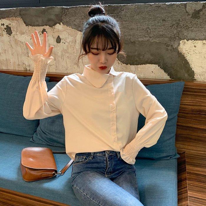 千貨公司春季韓版女裝不規則娃娃領氣質洋氣長袖襯衫雪紡衫上衣襯衣打底衫#女裝#時尚#韓版#潮流#春裝