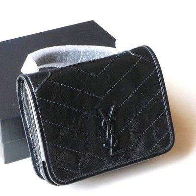 【折扣預購】20春夏正品SAINT LAURENT mini Niki YSL黑色小牛皮革肩背鍊條包622077