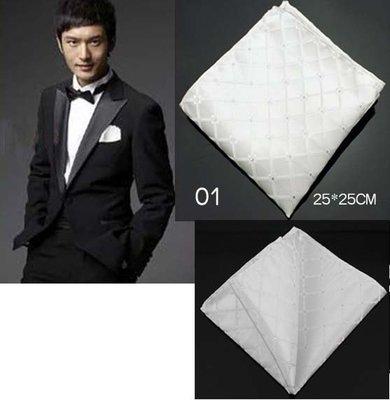 ~~╮玫瑰~誌~典雅純白提花男士西裝口袋巾西裝方巾手帕巾,1件直購150元