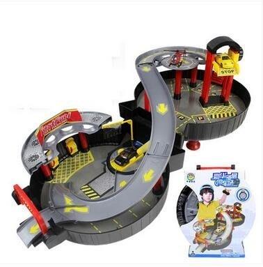 兒童拼裝軌道車賽車多層輪胎背包停車場玩具套裝Eb15603