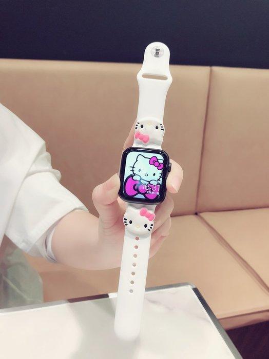MO適用iwatch表帶卡通硅膠kitty貓可愛蘋果apple watch2/3/4女潮手錶配件 錶帶 =男女錶帶 真皮