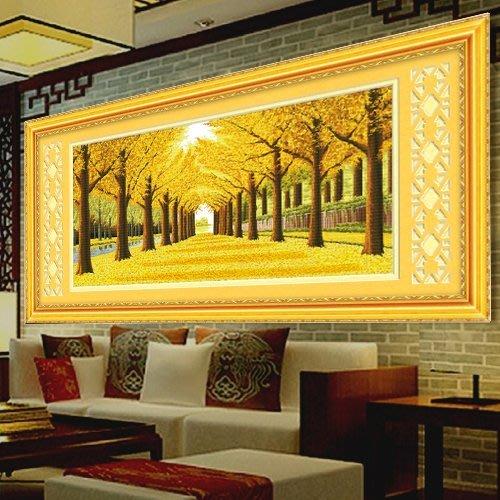 十字繡 字畫 遍地黃金滿地全景線繡印花十字繡客廳新款大幅風景系列品牌包郵