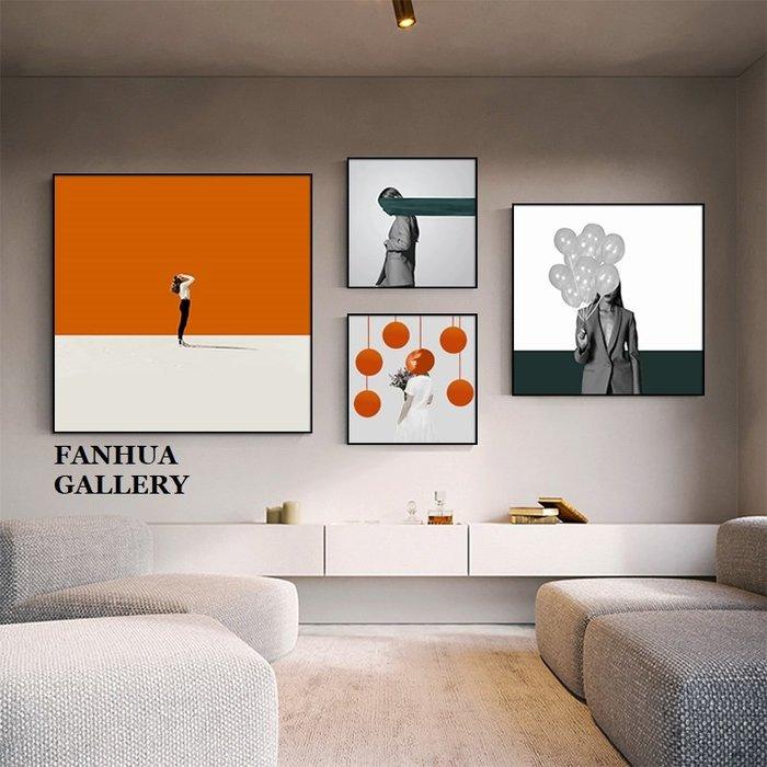 C - R - A - Z - Y - T - O - W - N 時尚淑女人物組合掛畫客廳玄關臥室方形藝術極簡裝飾版畫新成屋樣品屋空間設計師款畫商旅房間裝飾畫