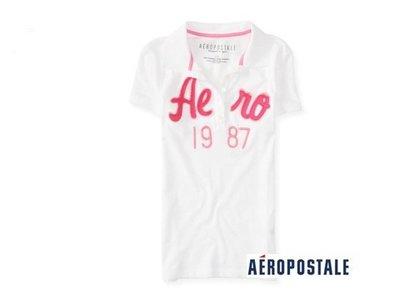 美國正品Aeropostale[Aero] 短袖POLO衫 / 白 ( 編號:4173 ) ~ S