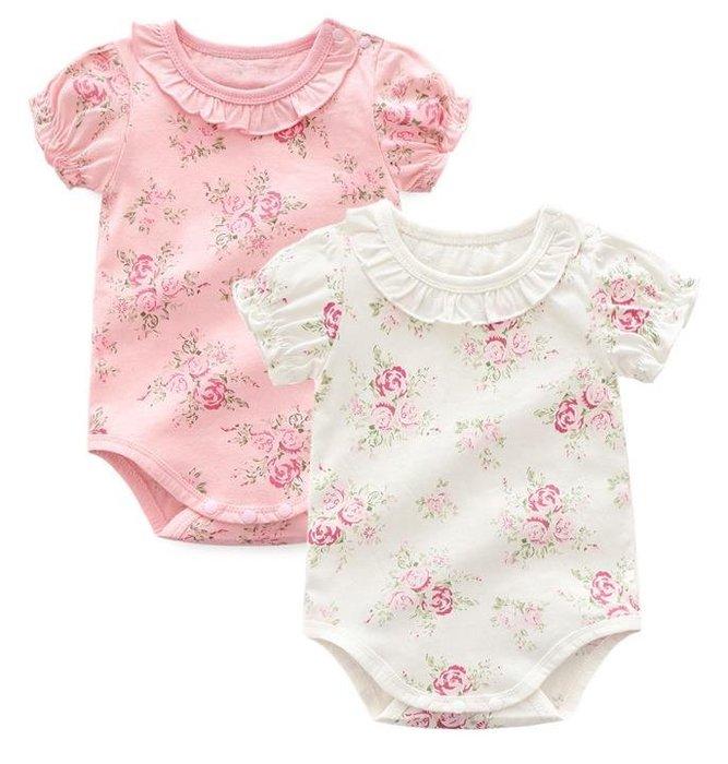 紫滕戀推出嬰兒服裝 可愛碎花 三角短袖純棉哈衣 0-12個月 夏季 共二色可選