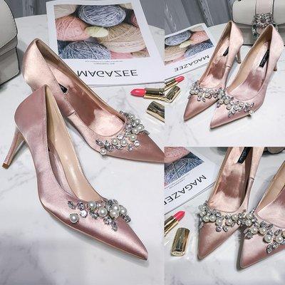 晚宴夜宴鞋名媛2019新款女鞋尖頭珍珠婚鞋跟婚禮高跟鞋裸色細跟香檳色伴娘鞋