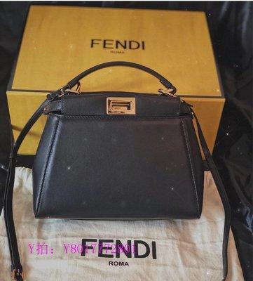 May二手精品FENDI PEEKABOO ICONIC MINI手袋  羊皮 黑色納帕革手袋  手提 肩背 斜背 現貨