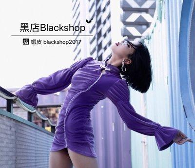 【黑店】中國風旗袍盤扣復古喇叭袖絲絨合身洋裝 紫色絲絨合身洋裝 性感絲絨喇叭袖洋裝