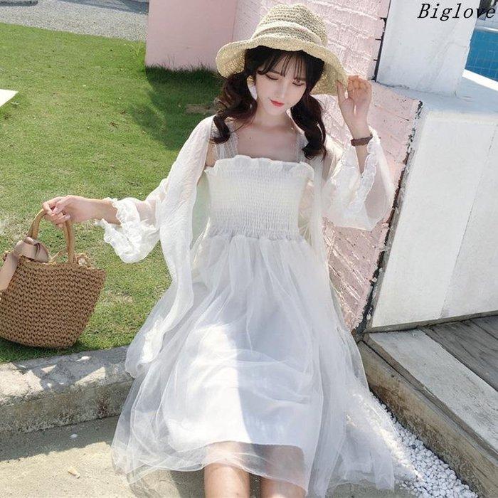 新款韓版春夏女裝抹胸吊帶高腰百褶連衣裙薄款防曬開衫上衣兩件套